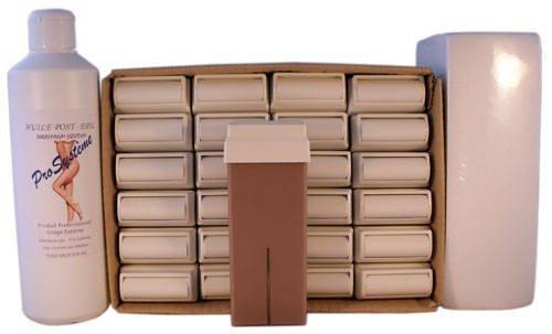EPILWAX S.A.S - Lot De 24 Roll-On De Cire épilatoire Jetable Aux Chocolat, avec Roulette Grand Modèle pour les jambes, aisselles, et le corps, avec 250 Bandes et 1 flacon d'Huile après épilation.