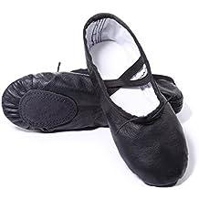 a8637d226 DoGeek Zapatos de Ballet de Cuero Zapatillas de Ballet de Danza Baile para  Niño(Negro