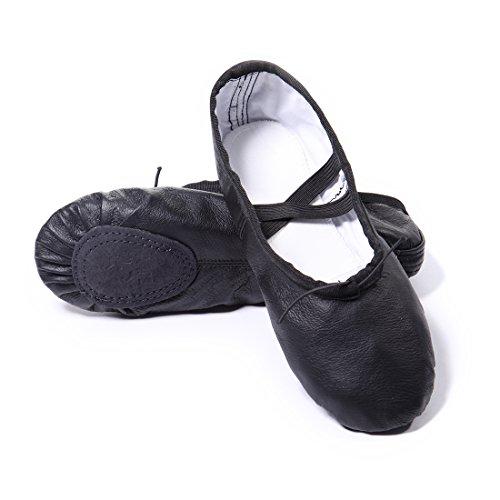 DoGeek Gute Qualität Ballettschuhe Echtes Leder Balletschläppchen weich Ballet Trainings Schläppchen Schuhe mit Gummibänder für Mädchen/Damen in den Größen 26-40 (schwarz)