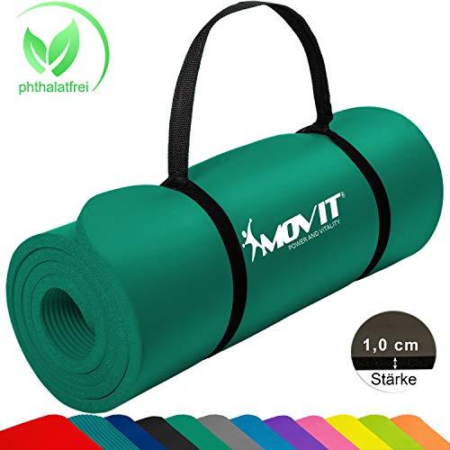 MOVIT Pilates Gymnastikmatte, Yogamatte, phthalatfrei, SGS geprüft, 183 x 60 x 1,0cm, in Dunkelgrün