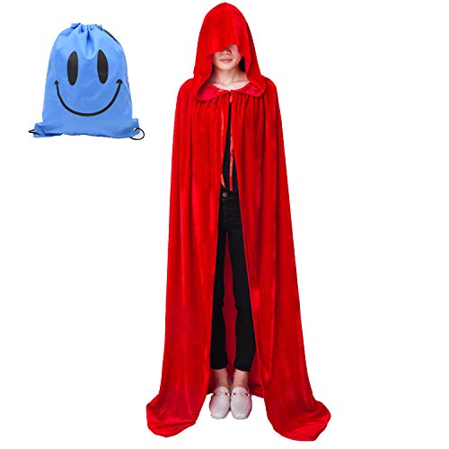 Myir Largo Capa con Capucha, Unisex Adulto Niños Disfraz de Halloween Fiesta Disfraces Vampiro Traje (XL, Rojo Terciopelo)