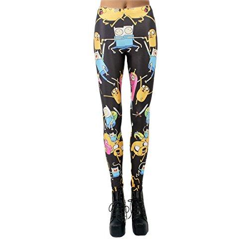 5x Plus Super Kostüme Größe (Hoch Qualität Frauen Damen Mädchen Schwarz Montage Druck Stretch-Leggings Strumpfhosen Hosen Halloween Kostüme 2er)