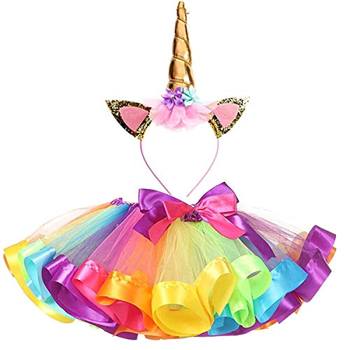 inhorn-Tutu Regenbogenrock und Einhorn-Stirnband Outfit für Mädchen Geburtstag Party Kostüme Set, Regenbogenfarben, M(3Y-4Y) ()