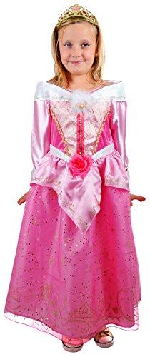 erdbeerloft- Mädchen Karneval Dornröschen Aurora Kostüm mit Krone, rosa, 7-8 Jahre (Dornröschen Aurora Kostüm)