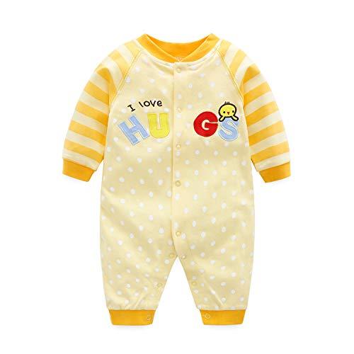 Gelbes Langarm-strampelanzug (Baby Overall Unisex Strampler Pyjama Baumwolle Schlafanzug Langarm Body, 6-9 Monate)