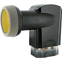 SCHWAIGER 401- Quattro LNB mit Sun Protect, digital, für Multischalter, extrem hitzebeständige LNB Kappe, Einsatz mit Satellitenschüssel, multifeed-tauglich mit Wetterschutz und vergoldeten Kontakten