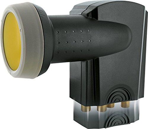 SCHWAIGER 401- Quattro LNB mit Sun Protect, digital, für Multischalter, extrem hitzebeständige LNB Kappe, Einsatz mit Satellitenschüssel, multifeed-tauglich mit Wetterschutz und vergoldeten Kontakten (Führen Hohe Temperaturen)