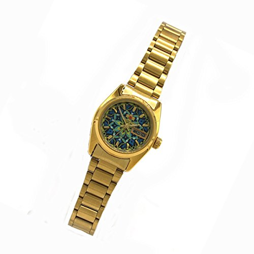 Orient New Dress Lady Gold Day Date Automatic Women's Watch Floral FNQ0 A02AD9