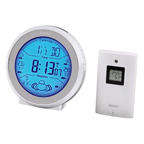 Hama EWS-820 Funk-Wetterstation (mit Funkuhr, Temperaturalarm und Wettervorhersage, inkl. Außensensor, Reichweite 50 m) weiß