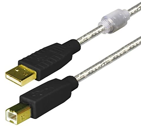 High Quality USB 2.0 Connection Cable with Ferrite Cores and Gold Contacts, transparent, approx. 1.8 M ®