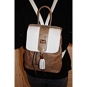 beige/weißer Leder Rucksack Cityrucksack Lederhandtasche Damenhandtasche Backpack