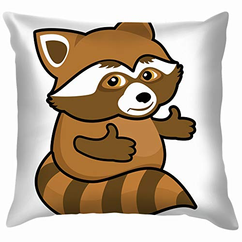beautiful& Icon Smiling Raccoon Hug Animals Wildlife Cotton Linen Home Decorative Throw Pillow Case Cushion Cover for Sofa Couch 18X18 Inch