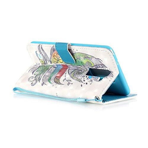 Coque Etui pour LG G Stylo 2 /LG G Stylus 2 LS775, LG G Stylo 2 Coque en Cuir Portefeuille Flip Etui Housse, LG G Stylus 2 LS775 PU Cuir Coque Folio Stand Etui Wallet Case Cover, Ukayfe Etui de Protec Plumes colorées
