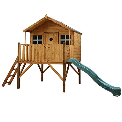 WALTONS EST. 1878 6x5 Wooden Garden Tower & Slide Playhouse for kids. Tongue & Groove Construction, dip treated with 10 Year Anti Rot Guarantee - Includes Apex Roof, Felt and Floor, Safety Styrene Windows (6 x 5 / 6Ft x 5Ft) 3-5 Day Delivery