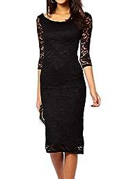 Dissa® Pretty Lady Schwarz Lace Overlay am Abend Midi-Kleid.,Schwarz