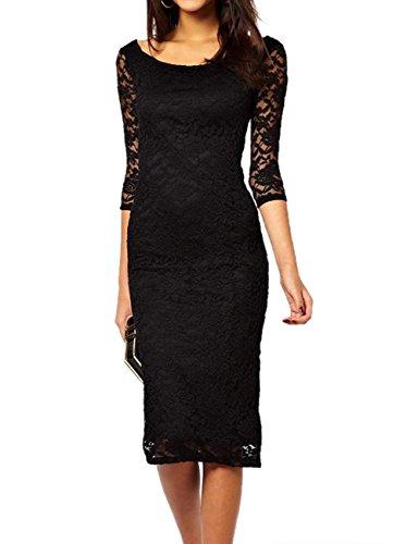 E-Girl jolie dame dentelle noire Overlay soir Midi robe,Noir Noir