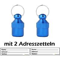 amathings 2 piezas ! (paquete doble) Etiquetas de dirección Mini XXS (2 cm de largo) en azul para perros pequeños y gatos, etiquetas de dirección incluidas/hermético/pastillero/dirección de la manga
