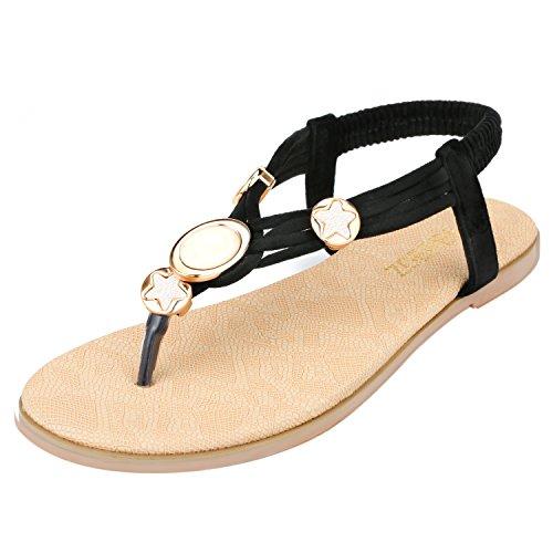 T-strap Flats Schuhe (Zoerea Damen Sandalen Schuhe Knöchelriemen Roman Geflochtene T-Strap Gladiator Sandalen Flats Thong Sandalen Sommer Schuhe Strand Flip Flop Hausschuhe (37 EU, Schwarz 001))