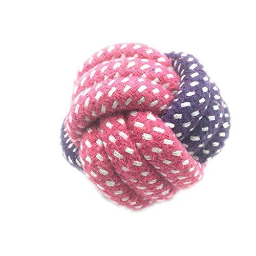 JKRTR Haustier, Seil Knoten Ball Interaktion Spielzeug beißende molare saubere Zähne(Pink-7,Freie Größe) -