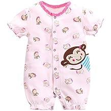 ASHOP Bebé Monos, Mameluco impresión Animal de la Manga Corta de los bebés y de