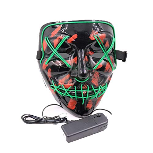 orror Glow LED Maske Scary Ghost Festival Cold Light Maske Cosplay Tanz Scheuer Tanz volles Gesicht ()
