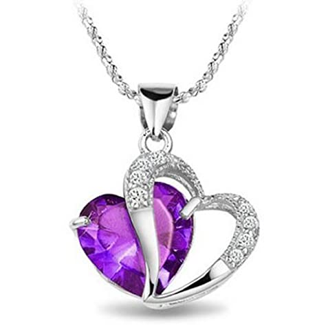 Rhodium Plated Diamond Accent Amethyst Heart Shape Pendant Necklace 18