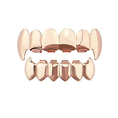 glänzend Hip Hop Teeth Grills oben und unten Zähne Vampirzähne Grills Set für Holleween Geschenk Einheitsgröße für alle Zähne Mund (Farbe: Rotgold) ()