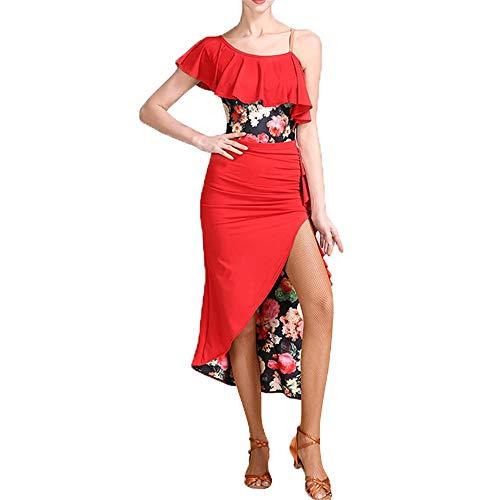DEYI Damen Rüschen Floral Latin Dance Kleid Anzug High Slit Performance Rock Outfit Professionelle Wettbewerb Kostüm Dancewear Tanzkleid (Farbe : Rot, Größe : M)
