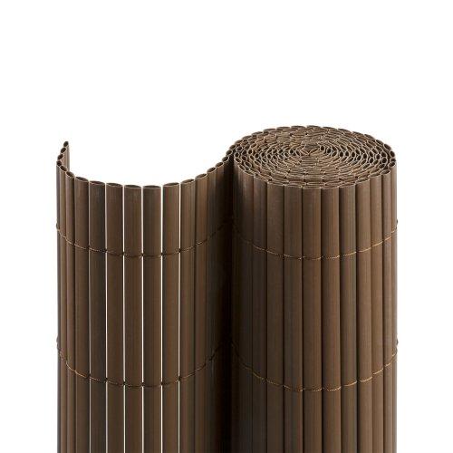 Jarolift PVC Sichtschutzmatte/Sichtschutzzaun für Garten, Balkon und Terrasse, 100 x 700 cm (Bestehend aus 2 Matten mit 1x 3m + 1x 4m Länge), braun