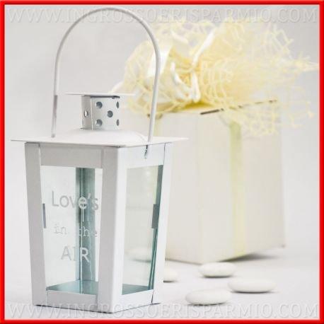 'Laterne für Kerzen aus Metall Weiß mit Griff für Aufhängen in Uni, die vier Seiten sichtbar der aus Glas Inhalt, in Vorderseite mit der Aufschrift