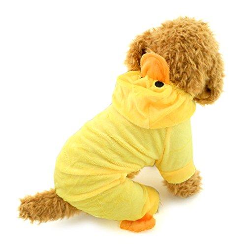 smalllee_lucky_store Pet Katze Hund gelb Ente Hoodie Samt Schlafanzüge Jumper Kleine Hund Kleidung Kostüme - Hunde Ente Kostüm