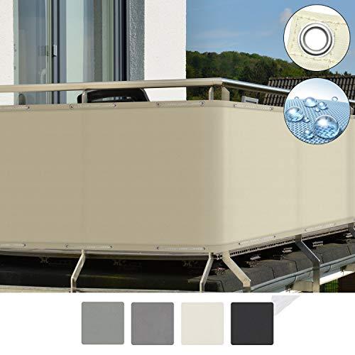 Sol Royal SolVision Balkon Sichtschutz PB2 PES blickdichte Balkonumspannung 90x500 cm - Creme - mit Ösen und Kordel - in div. Größen & Farben