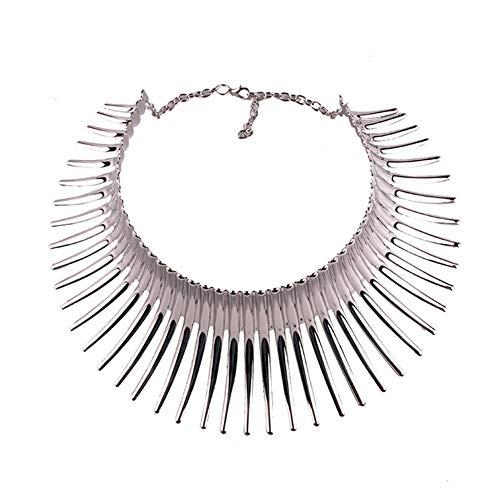 fjgjghk Halskette Retro Ethnic Style Mode Alternative Religion Super üBertrieben Teleskop Halskette Halsband Artikel,Silber,Einheitsgröße
