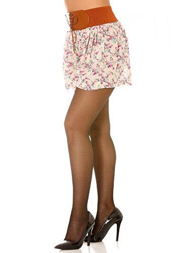 dmarkevous - Short fluide rose à fleurs à ceinture élastiquée à laçage camel Rose