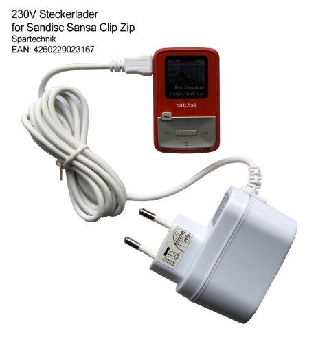 Spartechnik Netzteil für SanDisk Sansa Clip Zip MP3-Player weiß: 230V Steckerlader Ladegerät für San Disk Sansa MP3-Player CLIP ZiP Fuze+ Fuze Plus - 110-240 Volt- weiss