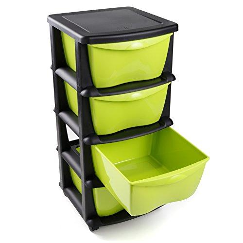 Schubladen aus Kunststoff auf Rädern Schwerlast Aufbewahrungsbox aus schwarzem Kunststoff mit 4...