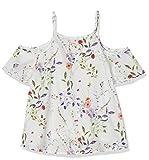 NAME IT Mädchen NKFHUSSA SS BLOUSE Bluse, Weiß (Bright White), 134 (Herstellergröße: 134-140)