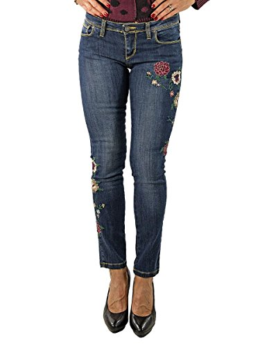 Jeans Donna con Fiori Ricamati Stretch-Made in Italy MainApps Denim