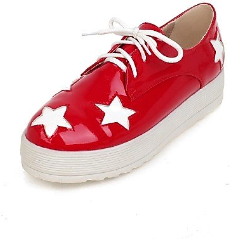 ZQ 2016 Zapatos de mujer - Plataforma - Punta Redonda - Oxfords - Vestido - Semicuero - Negro / Rojo , red-us10.5...
