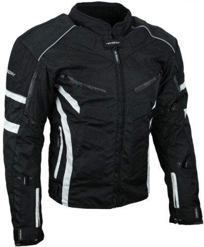 Kurze Textil Motorrad Jacke Motorradjacke Schwarz Weiß Gr. XL
