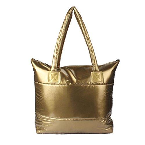 Ularmo Frauen Mädchen Raum Bale Schultertasche Handtasche Feder nach unten (Gold)