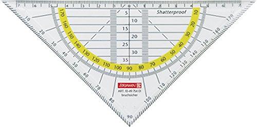 Brunnen 104975401 Geometrie-Dreieck / Geodreieck (für Schule und Büro, 16 cm, bruchsicher, glasklar)