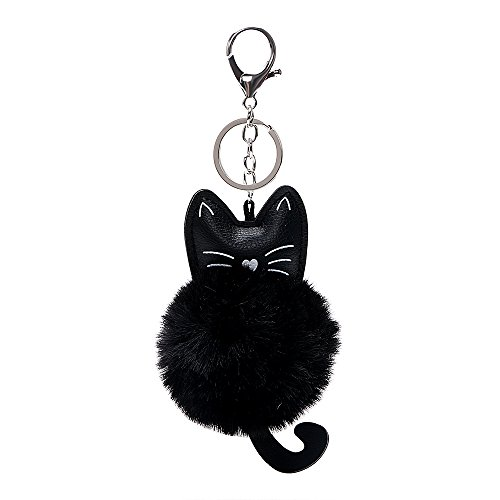 Itimo portachiavi in finta pelliccia portachiavi auto portachiavi in pelle pu fluffy gioielli accessori auto testa del gatto bambola portachiavi per ragazze donna (nero)