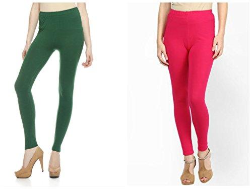 Kamaira Premium Ankle Length Leggings Pakistani Green & Hot Pink