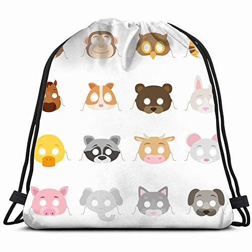 Animal Masks Set Collection Mask Props Animals Wildlife Holidays Drawstring Backpack Bag Sackpack Gym Sack Sport Beach Daypack For Girls Men & Women Teen Dance Bag Cycling Hiking Team Training