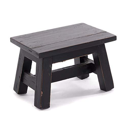 DESIGN DELIGHTS RUSTIKALER FUSSHOCKER Monte | 21x30x20 cm (HxBxT), Mahagoni Recyclinholz | Holzhocker | Farbe: 09 Voodoo - schwarz