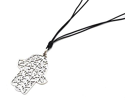 cl1204F-Collana lunga collana cordini nero ciondolo mano di Fatima traforata metallo argentato moda fantasia