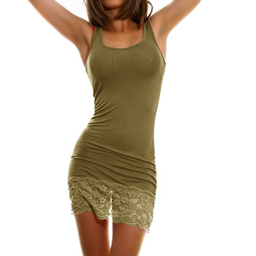 Toocool - Top miniabito donna vestitino jersey fondo pizzo floreale abito canotta AS-0083 Kaki