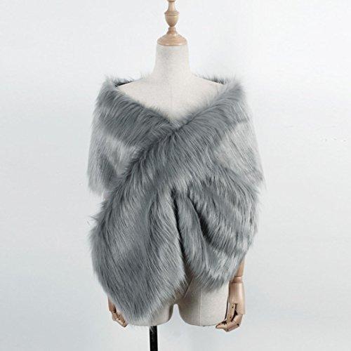 DOLDOA Fausse fourrure des femmes robe chale mariage nuptiale veste de manteau Gris foncé