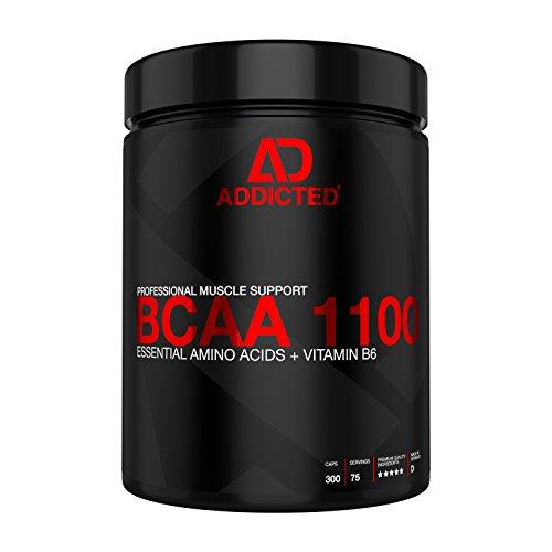 BCAA 1100 von ADDICTED® 300 Kapseln • Essentielle Aminosäuren & Vitamin B6 für Muskelaufbau und Muskelerhalt • Aminos 2:1:1 für Kraftsport | Bodybuilding | Fitness | Diät - Freie Performance-booster